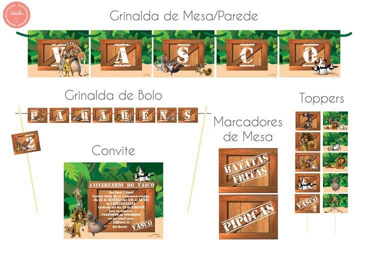 Decoração para festa de Aniversário Tema Madagáscar totalmente personalizada