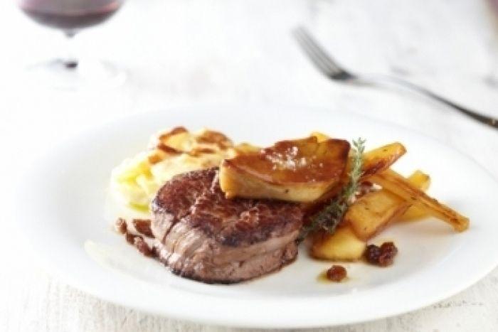 Recette de Chateaubriand, gratin de pomme de terre, panais rôti au miel et foie gras