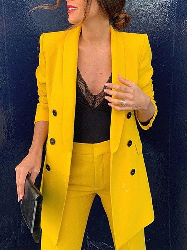 veste de tailleur femme jaune
