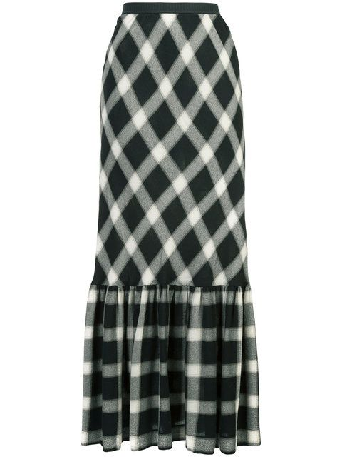 GABRIELLE'S AMAZING FANTASY CLOSET | I'M Isola Marras Black & Ivory Plaid Wool Maxi-Skirt. It's Fitted to the Knee and Bias-Cut so the Plaid is turned to the Diagonal. It has a Pleated Fishtail with the Plaid Squared-Off. Pair it with a Cream Ribbed Sweater with a Scoop Neck and Balloon Sleeves with Long Cuffs. Add Rubellite Drop Earrings and a Ruby/Rubellite Ring. Finish with Black Suede Ankle-Boots and a Red Crocodile Box Bag (It's all on this board). Go Light the Fire. - Gabrielle