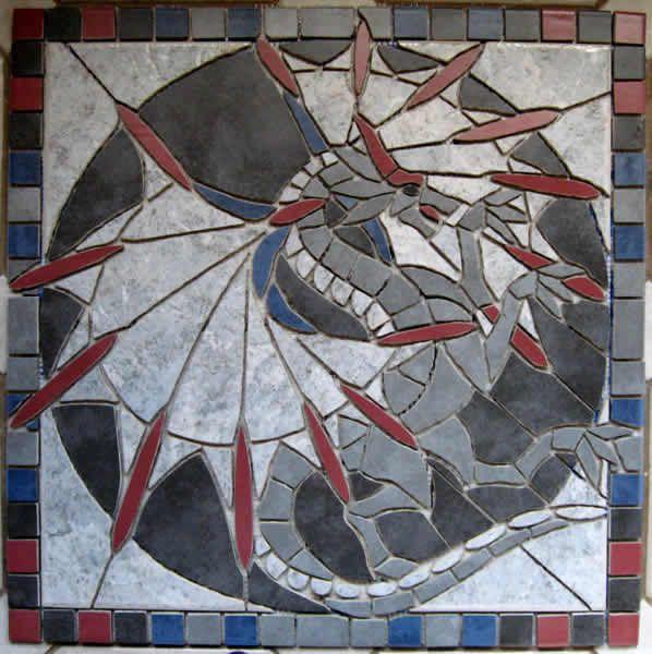 Drache   Mosaik Auf Netz Zur Boden  Und Wandgestaltung In Küche Bad