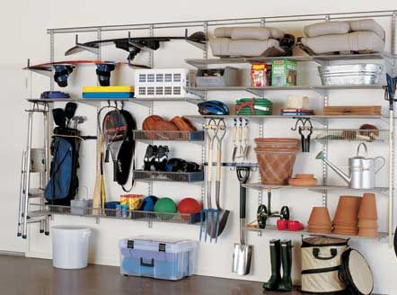 Garage Shelving Ideas: Best Way to Organize Your Stuff: Garage Shelving Ideas With White Wall – Fortikur