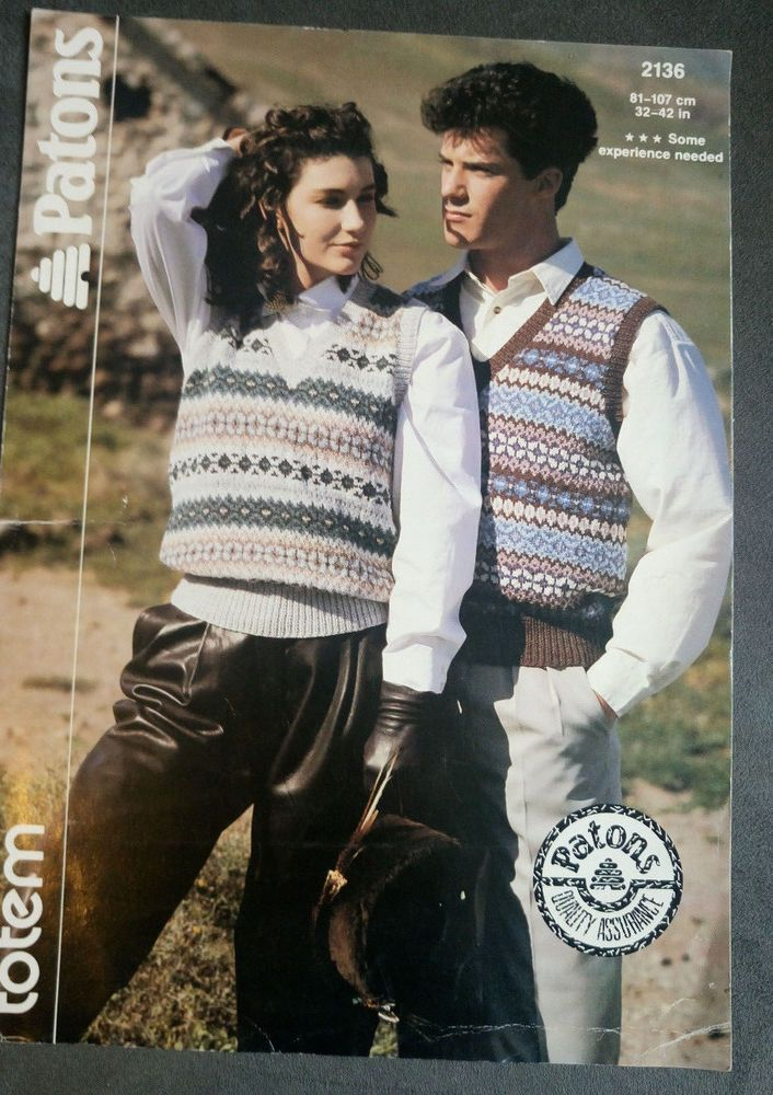 Woman's & Men's Fairisle Vests Patons 2136 knitting pattern DK yarn #Patons