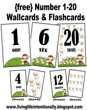 {free} Number wall Cards and flashcards.: 1 20 Wallcard, Printable Flashcard, 1 20 Flashcard, Numbers 1 20, Flashcard For Toddlers, Wallcard Free, Free Numbers Flashcard, Numbers Recognition, Numbers Wallcard
