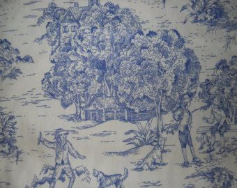 Blue French Toile Fabric, French Country Home, Decorative Fabric, Drapery/Upholstery Fabric, Old World Farmhouse/Cottage
