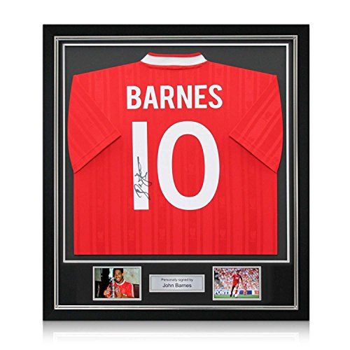John Barnes Signed Liverpool FC Soccer Jersey: Number 10. In Deluxe Black Frame With Silver Inlay ** Continue to the product at the image link.