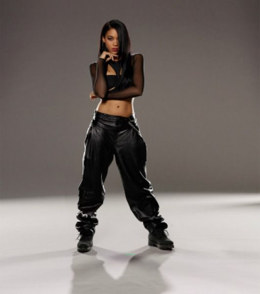 One of my fashion icons, Aaliyah! It's hard to tell with my witchy style that I'm also a lover of hip-hop culture. It's the part of me that likes some of the baggy boyfriend sweatpants look paired with a crop top (or leggings for extra booty emphasis), or allllll black-on-black swagger like this, mesh, pleather, etc.