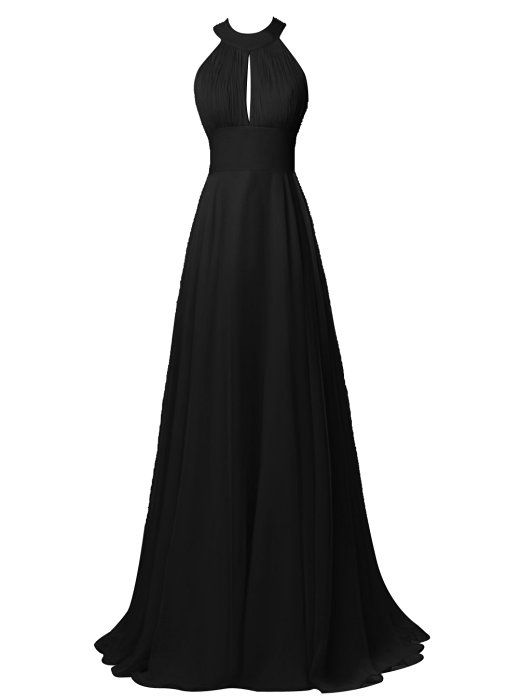 Tideclothes Long Halter Chiffon Bridesmaid Dress Sexy Backless Prom Dress Black US2