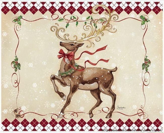 Открытка с новогодним оленем