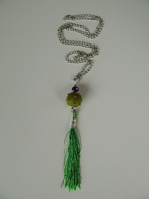 Long, silver nacklace, using green #felt ball with pearls and matching thread #tassel. Brave combination. www.ayaglass.hu