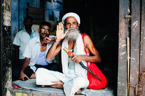 A sadu opens his heart and home to visitors to the Hindu quarters of Old Dhaka, Dhaka District, Bangladesh.  #sadu #hindu #holyman #portrait #smile #bangladesh #travel