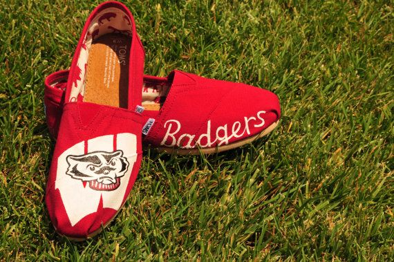 University of Wisconsin Badgers Custom Painted College-Themed TOMS Shoes on Etsy, $95.00