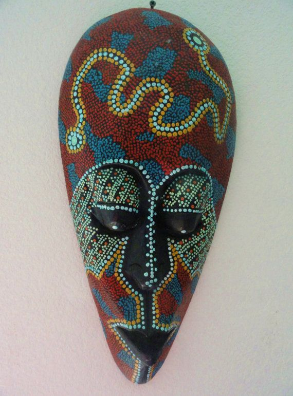 African tribal mask with lovely pindot paint by VintageAdorables, $29.00