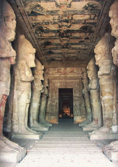 "Abu Simbel interior, Egypt. Construction of the temple complex started in approximately 1264 BCE and lasted for about 20 years, until 1244 BCE. Known as the ""Temple of Ramesses, beloved by Amun"" it was one of six rock temples erected in Nubia during the long reign of Ramesses II."