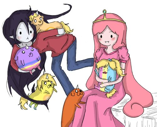 Marceline And Princess Bubblegum With Jake's Pups