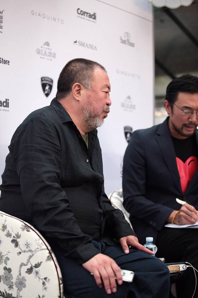 Ai Weiwei on Amal Armchair by Smania, during an interview in the Venice Movie Stars Lounge.