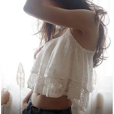 Vrouwen Vintage/Sexy/Strand/Informeel/Kant/Schattig/Feest Micro-elastisch Mouwloos Kort T-shirt ( Spandex/KatoenMixen )(1493985) – EUR € 10.90