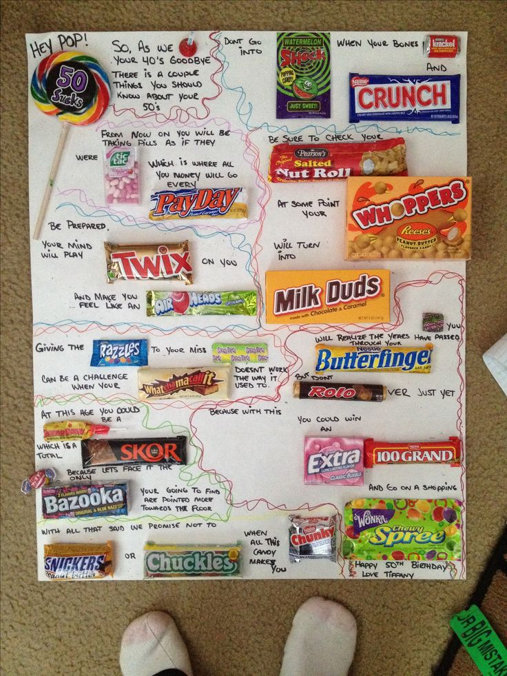 50th birthday candy card I made for my dad