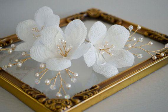 Bridal Flower Hair Pin Lace Hair Pin Crystal by JanaRoyaleDesign
