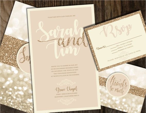 champagne and gold wedding invitation wedding by joyinvitations - Champagne Wedding Invitations