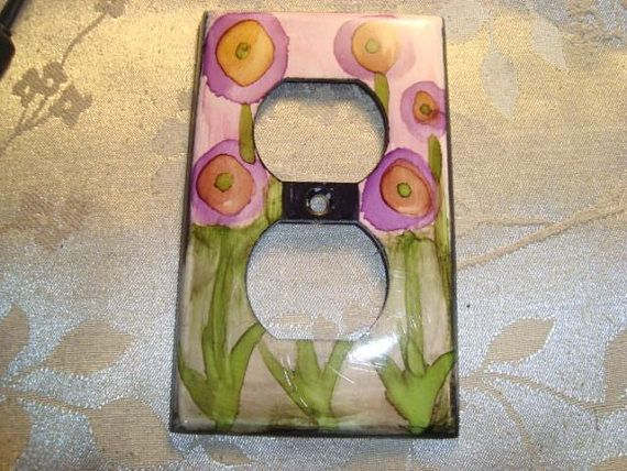Hand Painted Electrical Outlet  CoverWhimsical Pink Flowers
