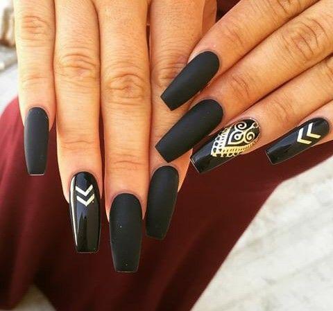 Matte black with gold foil