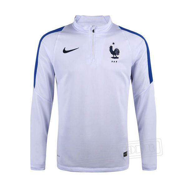 Promo:Le Meilleur Du Nouveau Training Zip Sweatshirt France Blanc 2016 2017 Slim Personnalise