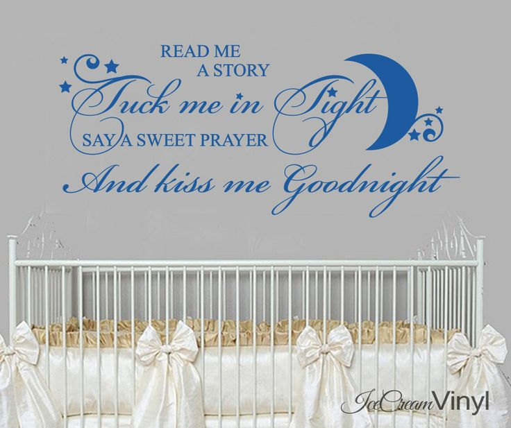 Nursery Rhyme Wall Decal Read Me A Story Tuck Me In Tight Girls Boys Bedroom Decor by IceCreamVinyl on Etsy