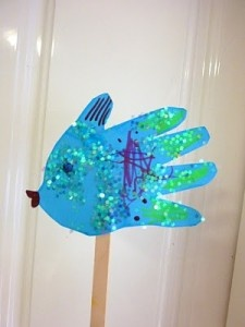 F is for Fish-Hand print craft i did this with a great group of toddlers and they loved it! very easy