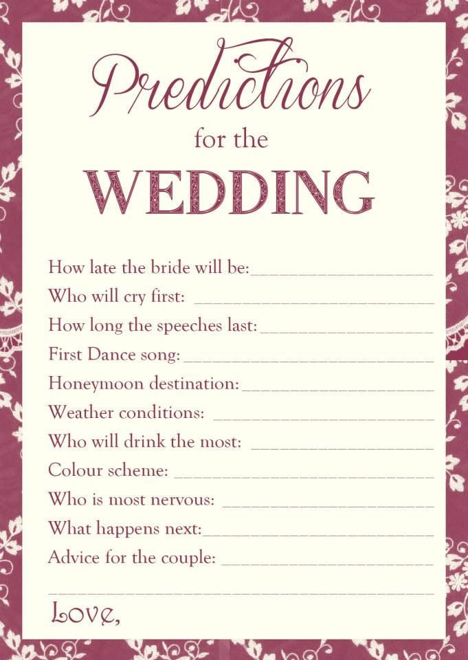 Wedding predictions great hen do game  Www.facebook.com/TheLittleMooBoutique