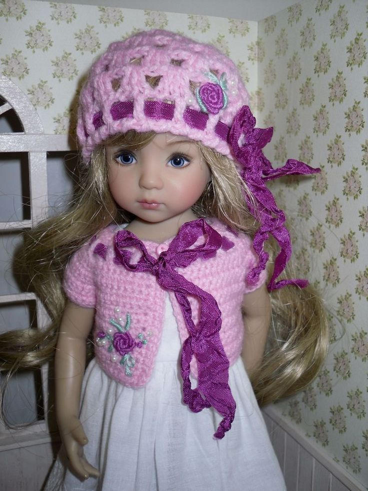 Set for Dianna Effner Little Darling 13 inches doll - hat and bolero.