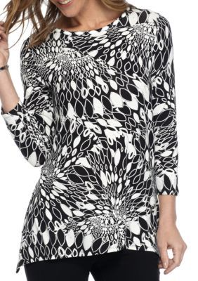 Ruby Rd Women's Petite Must Have Sharkbite Border Print Tunic - Black/White - Pxl