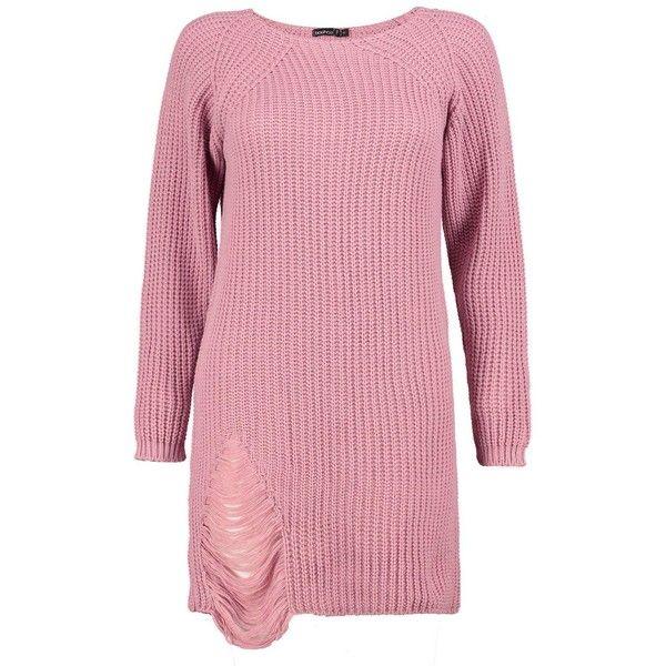 Boohoo Petite Amanda Distressed Oversized Jumper Dress | Boohoo ($21) ❤ liked on Polyvore featuring dresses, ripped dress, red dress, oversized dress, torn dress and petite dresses