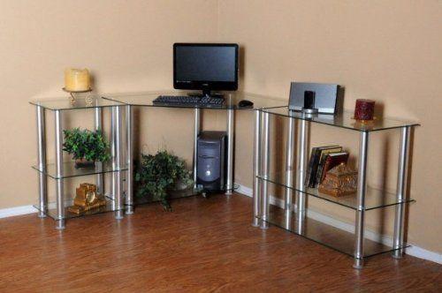 Clear Tempered Glass Corner Computer Desk Clear 30 H X 73 W X 58