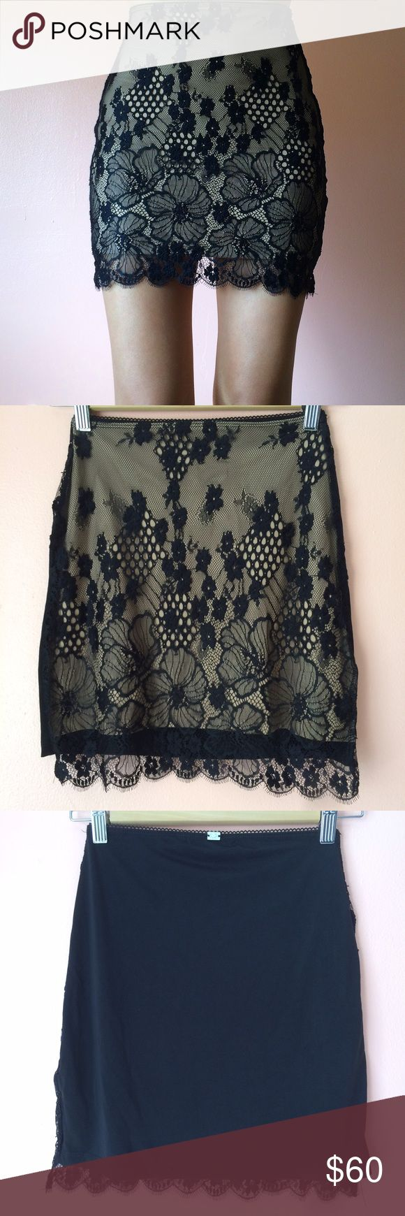 For Love & Lemons Skivvies Flower Lace Slip Skirt Slip into the DMs with this slip skirt by Skivvies by For Love & Lemons. Features a high waist, easy slip on silhouette, eyelash lace front panel, nude back and black back. MSRP $130. Fits a bit small. Marked size small. No returns allowed. Please ask all questions before buying. IG: [at] jacqueline.pak #forloveandlemons #skivvies For Love and Lemons Skirts Mini