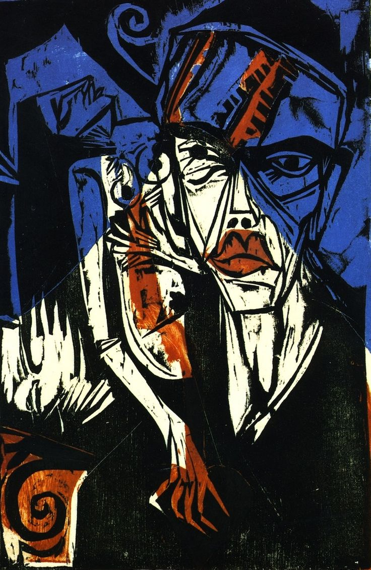 Ernst Ludwig Kirchner [Alemania 1880\1938] > Kämpfe > 1915 > color woodcut > 33.3x21.4cm.