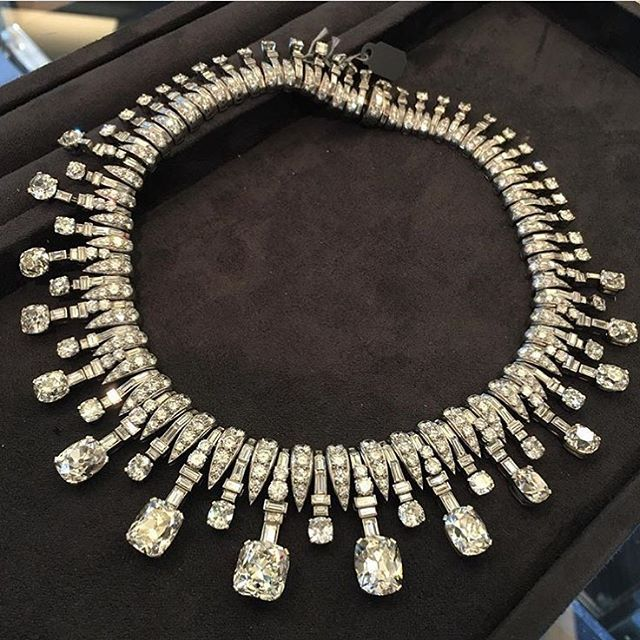 Bulgari Art Deco Diamond Necklace, c.1935, set with 15 cushion shaped diamonds graduating in size to the front, alternately set with with smaller similarly cut diamond terminals on baguette cut diamond batons, weighing approximately 88.00 carats total. Recently on exhibition at Bulgari's via condotti salon in Rome #ForSale #FDGallery For inquiries, please email: info@FD-Gallery.com #Bulgari #ArtDecoJewelry