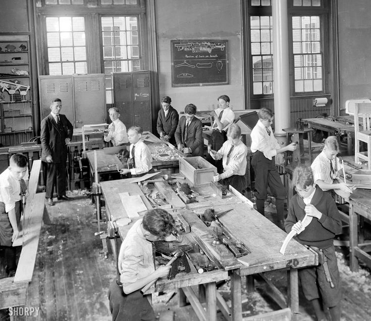 Junior High School, Carpentry Class, Washington, 1921