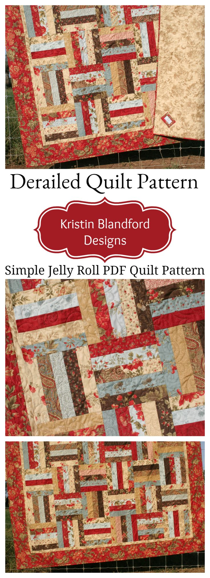 Simple Quick Easy Jelly Roll Quilt Pattern, Derailed Quilt Pattern, Beginner Quilt Pattern, Traditional Winter Fall Throw Quilt Pattern, Pre-cut Quilt Pattern by Kristin Blandford Designs #quilting #quickquilts #quiltingideas #sewingpattern