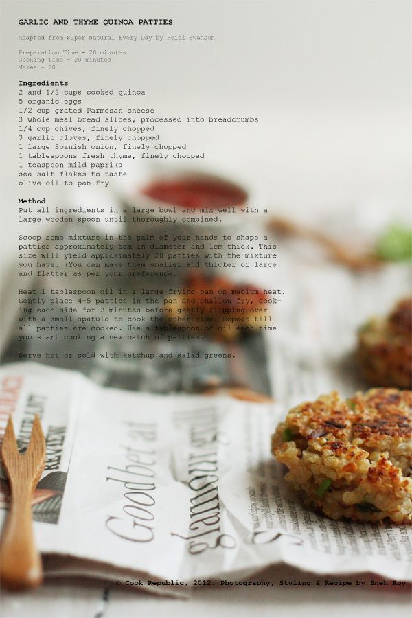 Garlic And Thyme Quinoa PattiesGrateful Parmesan Cheese, Olive Oils ...