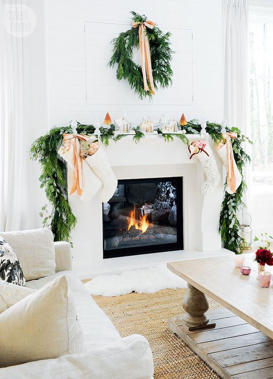 Greenery Around the Mantle for the Holidays