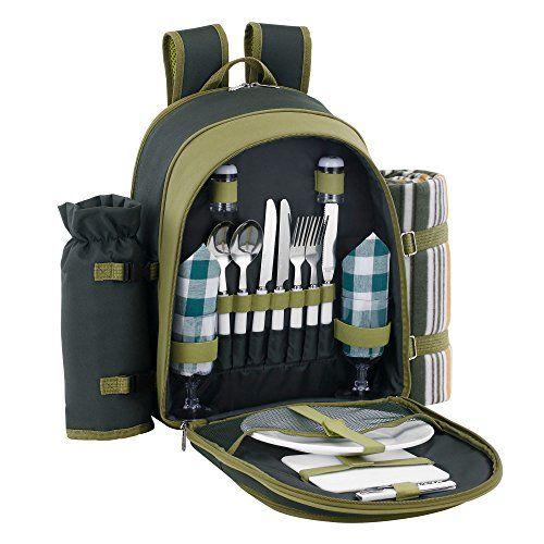 VonShef 2 Personen Gr�ner Picknick Rucksack Picknickkorb mit K�hlfach inklusive Geschirr & Fleecedecke