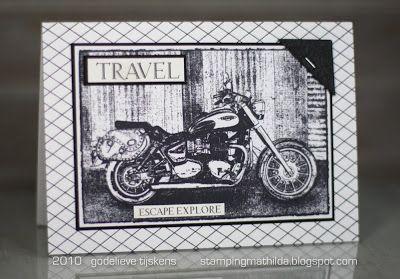 Card by Godelieve Tijskens using Darkroom Door Motorcycle Photo Stamp and Criss Cross Background Stamp. http://www.darkroomdoor.com/photo-stamps/photo-stamp-motorcycle