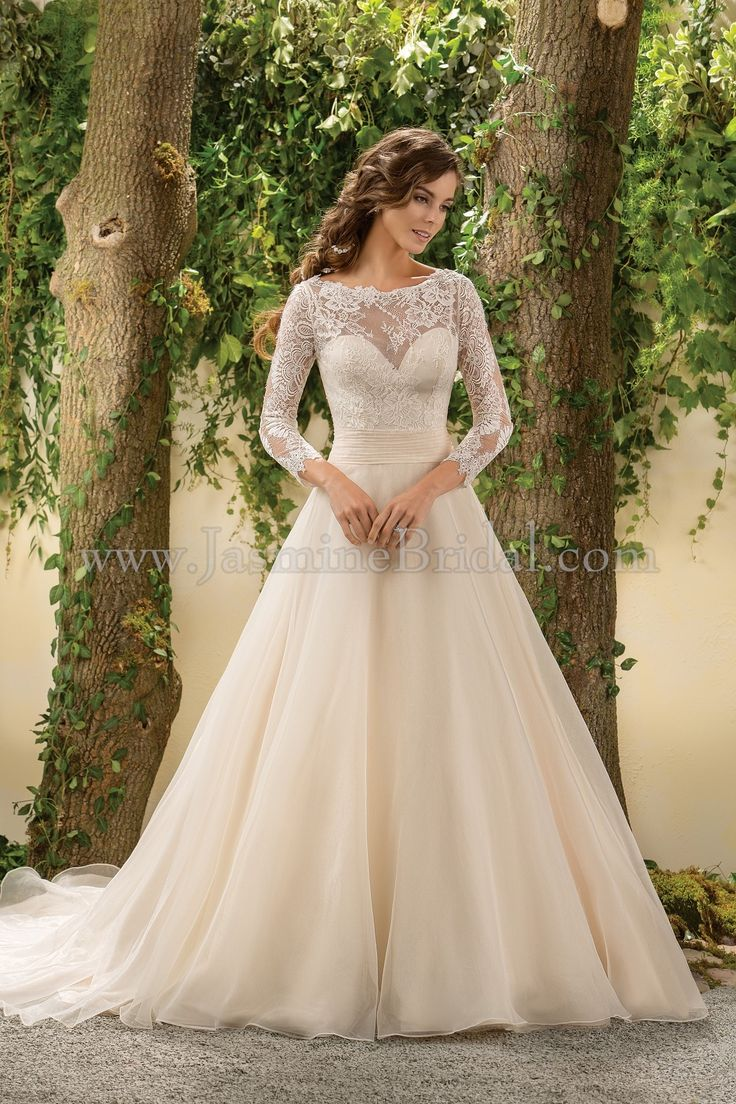 Jasmine Bridal - Collection Style F181005 in Chantilly Lace, Double Faced Organza, color Ivory/Gold