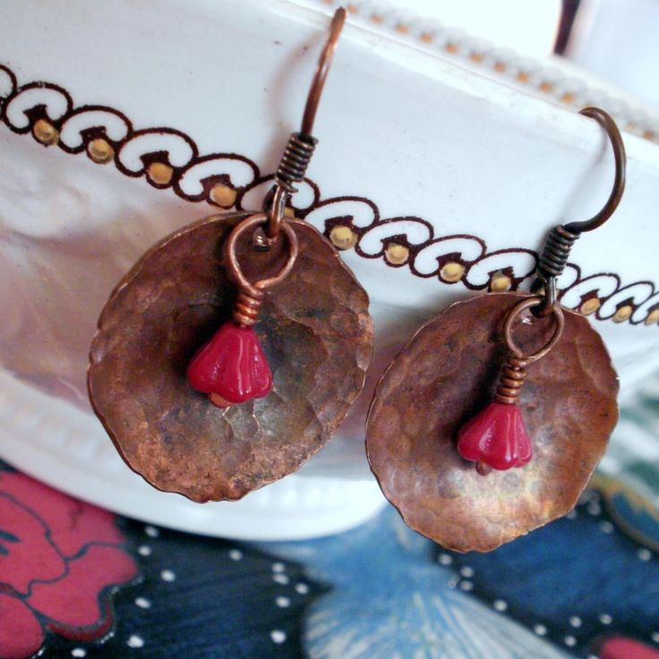 Copper Bells - Copper Disc and Red Czech Bellflower Earrings - Jewelry creation by Molly Alexander