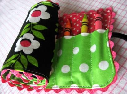 "Here is a fabric (not felt) crayon roll tutorial.  I have made these as gifts for children's birthday parties that my girls are invited to (when I don't have any money to buy a gift)  Also from ""skip to my Lou"""