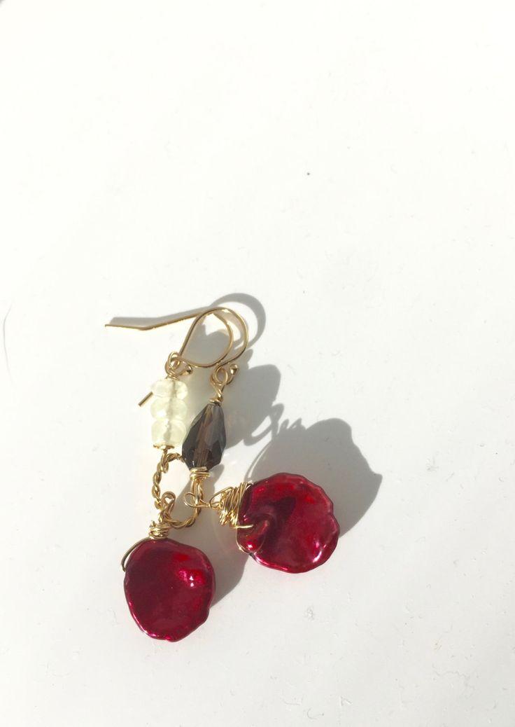 Red Keishi, Lemon Quartz, Smoky Quartz, Assymetrical Earrings, Lilyb444, Yellow Brown,