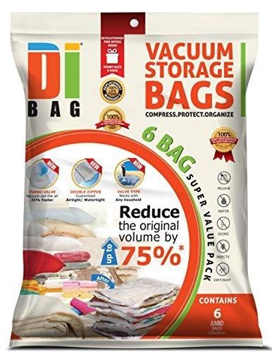 DIBAG  Vacuum Compressed Storage Space Saver Bags . Flat vacuum bags for Clothing Duvets Bedding Pillows Curtains & More. (6 130x90 cm)