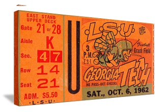 Football Art! 1962 Georgia Tech football ticket canvas art. College football art made from authentic football tickets. 47 STRAIGHT™ Perfect football art for a game room or office! Football art printed in the U.S.A.