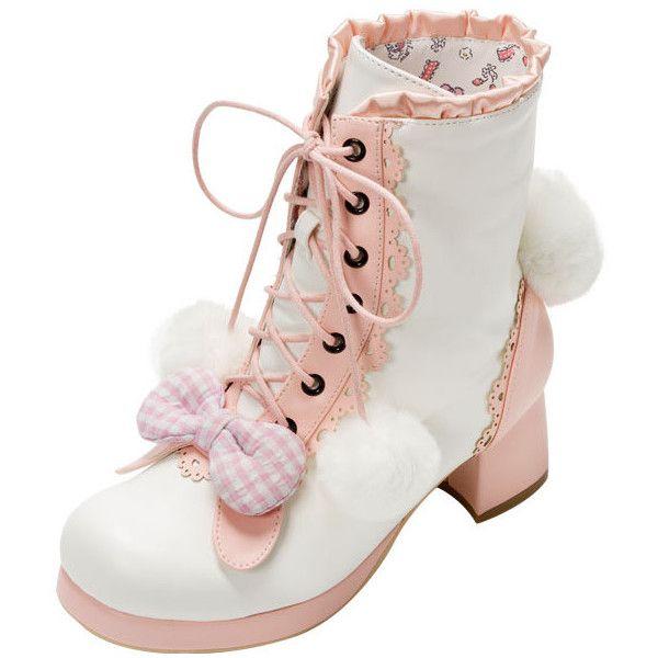 マイメロディ&クロミショートブーツ(靴・靴下・靴関連グッズ)ならプチプラファッション通販の夢展望【公式サイト】 ($54) ❤ liked on Polyvore featuring shoes